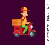 pizza deliveryman on a scooter. ... | Shutterstock .eps vector #1039221634