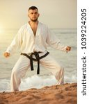 Small photo of Cheerful male practising karate kata poses at seaside