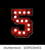 number 5. broadway style light... | Shutterstock . vector #1039226431