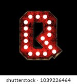 letter q. broadway style light... | Shutterstock . vector #1039226464