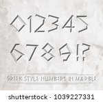 ancient greek letters chiseled... | Shutterstock .eps vector #1039227331