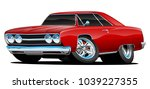 red hot classic muscle car... | Shutterstock .eps vector #1039227355