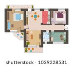 architectural flat plan top... | Shutterstock .eps vector #1039228531