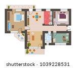 architectural flat plan top... | Shutterstock .eps vector #1039228531