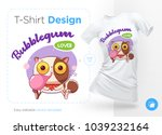 sweet tooth cat. print on t... | Shutterstock .eps vector #1039232164