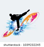 martial arts. high kick | Shutterstock .eps vector #1039232245
