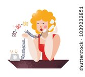 vintage lady talking vintage... | Shutterstock .eps vector #1039232851
