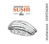 ika sushi sketch. japanese... | Shutterstock .eps vector #1039236364