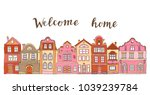 the row of hand drawn houses... | Shutterstock .eps vector #1039239784