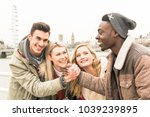 group of happy multiracial best ... | Shutterstock . vector #1039239895