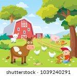 summer landscape with farm... | Shutterstock .eps vector #1039240291