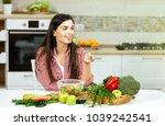 long haired caucasian girl... | Shutterstock . vector #1039242541