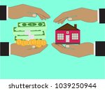 business man hand holding money ... | Shutterstock .eps vector #1039250944