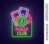 poker neon sign. poker club... | Shutterstock .eps vector #1039252201