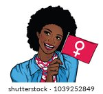 afro american woman holding... | Shutterstock .eps vector #1039252849