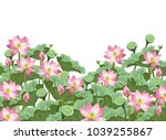 lotus flowers with leaves and... | Shutterstock .eps vector #1039255867