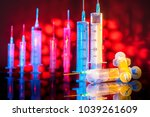 syringes on the background of a ... | Shutterstock . vector #1039261609