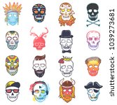 skull vector mexican dead head... | Shutterstock .eps vector #1039273681