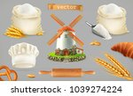 flour. mill  wheat  bread  chef ... | Shutterstock .eps vector #1039274224