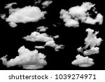 set of clouds white on isolated ... | Shutterstock . vector #1039274971