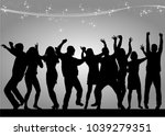 dancing people silhouettes.... | Shutterstock .eps vector #1039279351
