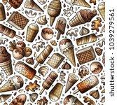 cartoon hand drawn ice cream... | Shutterstock .eps vector #1039279561