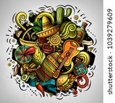 cartoon vector doodles latin... | Shutterstock .eps vector #1039279609