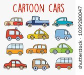 cartoon cars sketch drawing of... | Shutterstock .eps vector #1039280047