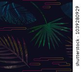 glitch moire tropical seanless... | Shutterstock .eps vector #1039280929