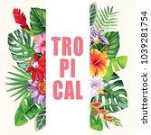 tropical hawaiian flyer with... | Shutterstock .eps vector #1039281754