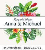 tropical hawaiian wedding... | Shutterstock .eps vector #1039281781