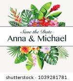 tropical hawaiian wedding... | Shutterstock .eps vector #1039281781