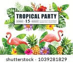 tropical hawaiian party... | Shutterstock .eps vector #1039281829
