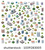 isometric city set street road... | Shutterstock .eps vector #1039283005