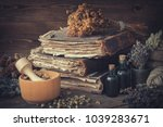 tincture bottles  bunches of... | Shutterstock . vector #1039283671