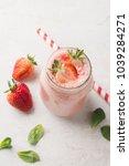 mason jar mug with fresh... | Shutterstock . vector #1039284271