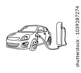 electric car and charging... | Shutterstock .eps vector #1039287274