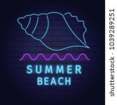 neon sign of summer beach... | Shutterstock .eps vector #1039289251