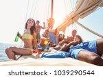 happy friends making boat party ...   Shutterstock . vector #1039290544