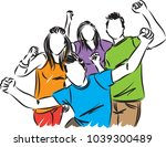 happy people friends vector... | Shutterstock .eps vector #1039300489