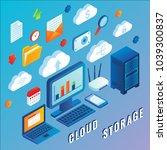 cloud storage flat 3d isometric ...