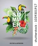 tropical hawaiian design with... | Shutterstock .eps vector #1039301917