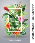 tropical hawaiian sale poster... | Shutterstock .eps vector #1039301944