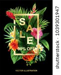 tropical hawaiian sale poster... | Shutterstock .eps vector #1039301947
