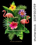 tropical hawaiian wedding... | Shutterstock .eps vector #1039301959