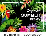 tropical hawaiian design with... | Shutterstock .eps vector #1039301989