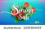 spring sale banner with green... | Shutterstock .eps vector #1039304455