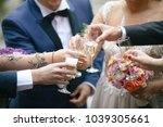 people clinking glasses at... | Shutterstock . vector #1039305661