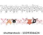 little pigs border set | Shutterstock .eps vector #1039306624