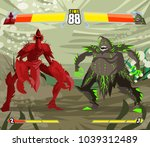 monsters fighting videogame | Shutterstock .eps vector #1039312489